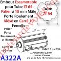 Embout Escamotable Zf 64 Téton ø18 Mâle Alésé en Carré de 10 mm Femelle