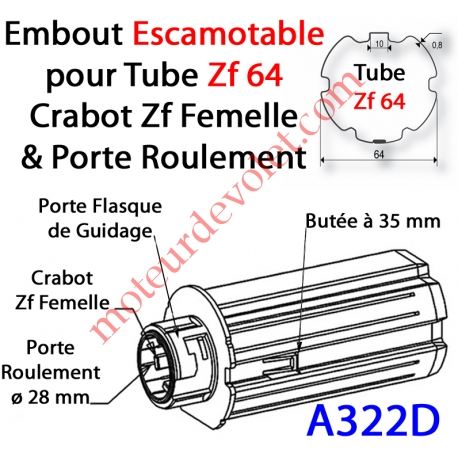 Embout Escamotable Zf 64 Crabot Zf Femelle Porte Roulement ø28 Pds Tab Max 25 kg