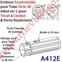 Embout Escamotable Octo 40 Porte Roulement ø28 Alésé en X de 10 mm Femelle pour Treuil à Chainette