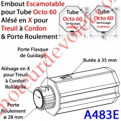 Embout Escamotable Octo 60 Porte Roulement ø28 Alésé en X de 10 mm Femelle pour Treuil à Chainette