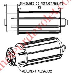 Embout à Piston Zf 54 Télescopique sur 25 mm ø 23 mm ou ø 28 mm ou Crabot Zf Fem