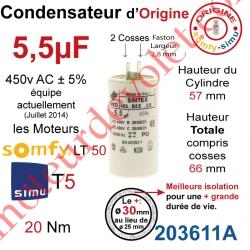 Condensateur d'Origine pour Moteur Tubulaire Simu à Cosses 5,5µF ±5% 425 v