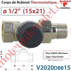 """Corps de Robinet Thermostatique Droit 1/2"""" M30 x 1,5"""