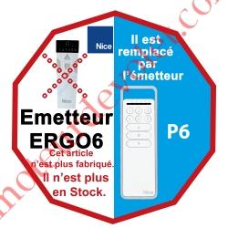 Emetteur Ergo 6 Nomade 3 Fonctions 6 Canaux 433,92MHz Rolling Code + Sup Berceau remplacé par P6