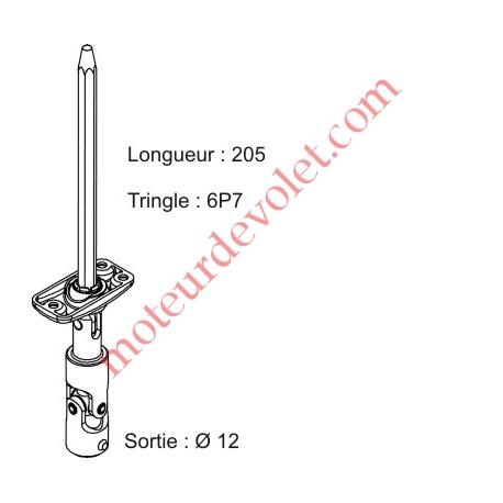 Sortie Mini Bloc-Guide Déporté Plat22x45 Gen ø12 Fem-Hex7 lg205