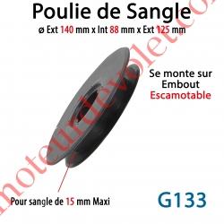 Poulie et Guidage Tablier ø Ext 140 mm Int 125 mm pour sangle 15 mm Maxi se Verrouille sur Embout Escamotable