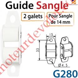 Guide Sangle Acier Laqué Blanc à 2 Galets pour Sangle de 14 mm
