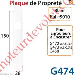 Plaque de Propreté Blanche pour Enrouleur de Sangle à Encastrer Réf: G472 G473 et G458