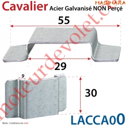 Cavalier Acier Galvanisé Non Percé Laisse un Passage de 29 x 9 mm pour Tringle Verrouillage