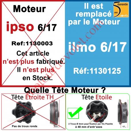Moteur Somfy Ipso 6/17 LT 50.Ce Moteur est remplacé par la Réf.: 1130125