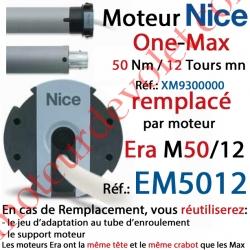 Moteur Nice Filaire One Max 50/12 Av FdC Manuels M 50, Remplacé par EM5012